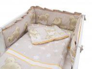 MamaKiddies Sofie Dreams 5-dielna posteľná bielizeň s 360°krytom na mriežky - bledo hnedá