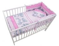 Mama Kiddies Sofie Dreams 4-dílná dětská ložní souprava s mantinelem 180° - růžová