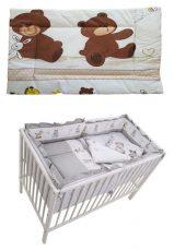 Mama Kiddies Sofie Dreams 5-dielna detská posteľná bielizeň s 360°krytom na mriežky - béžová s macíkmi- new edition