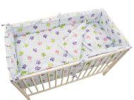 MamaKiddies Sofie Dreams 5-dielna posteľná bielizeň s 180°krytom na mriežky - bledá s malými sovičkami