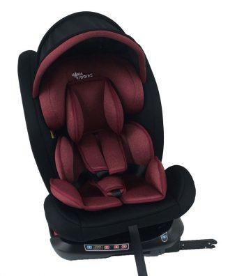 Dětská autosedačka Mama Kiddies Rotary Protect GT s 360 ° otáčením (0-36kg) s ISOFIX systémem, barva červeno + dárek clona proti slunci