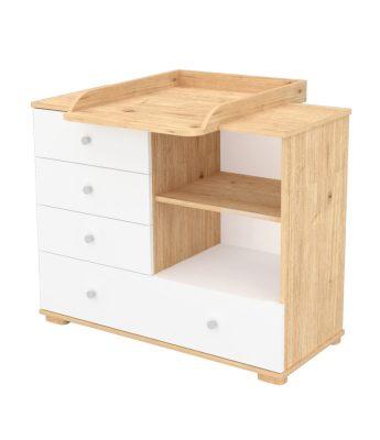Přebalovací skříňka se 4 šuplíky a policí v mandlově-bílé barvě