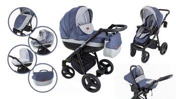 Mama Kiddies Passion Collection dětský multifunkční kočárek 3v1 v modré barvě + dárky