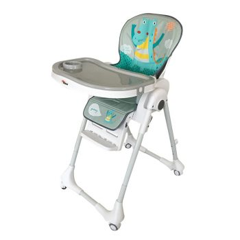 Dětská multifunkční jídelní židle Mama Kiddies Star, šedo-bílá s dinosaurem