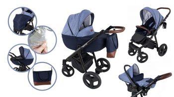 Mama Kiddies Voyage Collection dětský multifunkční kočárek 3v1 v modré barvě + dárky