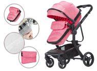 Dětský kočárek MamaKiddies Moon Pink: 2 v1 s doplňky v růžové barvě