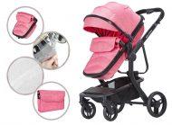 Dětský kombinovaný kočárek Mama Kiddies Moon Pink: 2 v1 s doplňky v růžové barvě