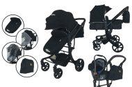 Mama Kiddies Sun Black Galaxy 3v1 dětský kombinovaný kočárek s doplňky