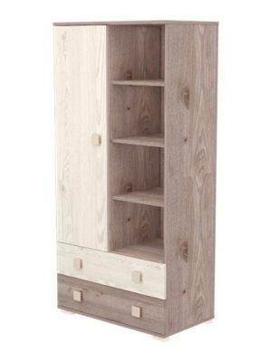 Stojící skříň s 1 dveřmi a 2 zásuvkami v šedo-hnědé barvě
