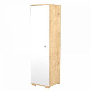 Stojaca skriňa s 1 dverami a 5 policami v mandľovo-bielej farbe