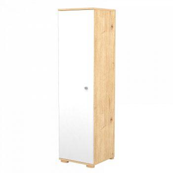 Stojící skříň s 1 dveřmi a 5 policemi v mandlově-bílé barvě