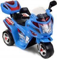 Tříkolová elektrická sportovní motorka v modro-černé barvě