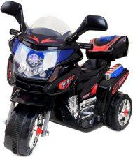 Trojkolesová elektronická športová motorka v čierno-červenej farbe