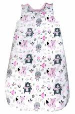 Bílo-růžovo-šedý spací pytel se vzorem lesních zvířátek