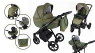Mama Kiddies Legend Collection - ekokůže, dětský multifunkční kočárek 3v1 v zelené barvě + dárky