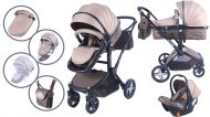 Dětský kombinovaný kočárek Mama Kiddies Beige-Brown Fox 3v1 s doplňky + Dárek