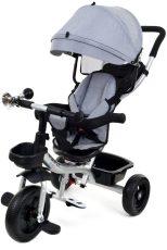 FunFit Kids Twist tříkolka s vodícím ramenem a opěrkou na nohy v šedé barvě (sedadlo otočné o 360°)