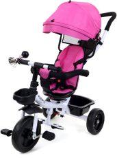 FunFit Kids Twist tříkolka s vodícím ramenem a opěrkou na nohy v růžové barvě (sedadlo otočné o 360°)