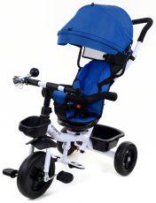 FunFit Kids Twist tříkolka s vodícím ramenem a opěrkou na nohy v modré barvě (sedadlo otočné o 360°)