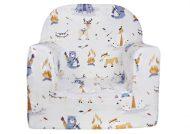 Dětská fotelka Prémium bílá se vzorem medvídek, srnka a liška