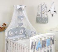 Mama Kiddies Baby Bear 6-dílná dětská ložní prádlo s 360 ° krytem na mřížky šedá s macíkmi