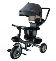Mama Kiddies Major Trike tříkolka s vodící tyčí a stupačkami, šedá (otočné sedadlo o 360°)