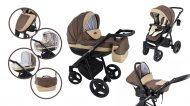 Mama Kiddies Passion Collection dětský multifunkční kočárek 3v1 v hnědo-béžové barvě  + dárky