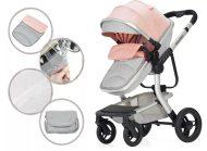 Dětský kombinovaný kočárek Mama Kiddies Moon Pink-Grey: 2 v1 s doplňky v růžovo šedé barvě