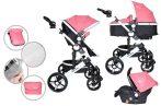 Dětský kočárek MamaKiddies Venus 3v1 s doplňky v růžové barvě + dárek