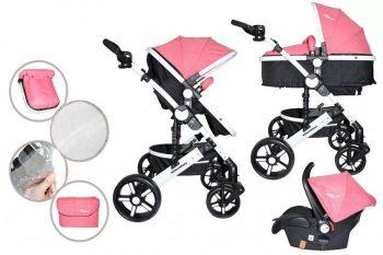 Dětský kombinovaný kočárek Mama Kiddies Venus 3v1 s doplňky v růžové barvě + dárek