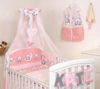 Mama Kiddies Baby Bear 6-dílná dětská ložní souprava s mantinelem 360°, růžová - vzor medvídci