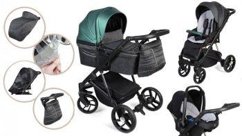 Dětský kombinovaný kočárek Mama Kiddies Glimmer Collection, 3v1, barva Smaragd + Dárky