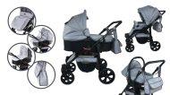 Mama Kiddies Sleep Collection dětský multifunkční kočárek 3v1 v světle šedé barvě + dárek