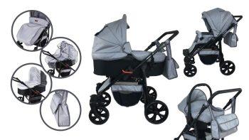 Mama Kiddies Sleep Collection dětský multifunkční kočárek 3v1 v světle šedé barvě + dárky