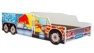 Mama Kiddies 140x70-cm dětská postel s designem Monster Truck a s matrací