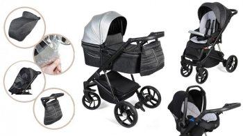 Dětský kombinovaný kočárek Mama Kiddies Glimmer Collection, 3v1, barva Silver + Dárky