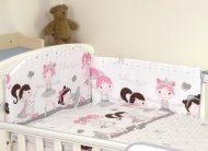 MamaKiddies Baby Bear 5-dielna posteľná bielizeň s 360 ° krytom na mriežky bielo sivá baletka