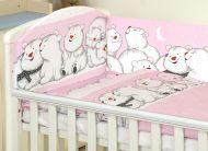 Mama Kiddies Baby Bear 5-dílná dětská ložní souprava s mantinelem 180°, růžová - vzor lední medvědi
