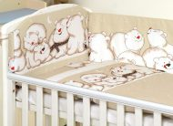 Mama Kiddies Baby Bear 5-dielna detská posteľná bielizeň s 360 ° krytom na mriežky bledohnedá s ľadovími medveďmi