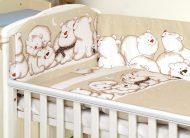 Mama Kiddies Baby Bear 5-dílné dětské ložní prádlo s 360 ° mantinelem, barva světlehnědá s ledním medvědem