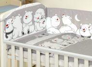 Mama Kiddies Baby Bear 5-dílné dětské ložní prádlo s 360 ° mantinelem, barva šedá s ledním medvědem