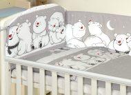 Mama Kiddies Baby Bear 5-dielna detská posteľná bielizeň s 180 ° krytom na mriežky sivá a ľadovími medvedíkmi