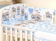 MamaKiddies Baby Bear 5-dielna posteľná bielizeň s 360 ° krytom na mriežky bielo modrá so sovičkami