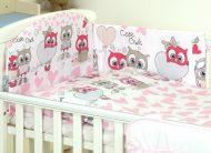 Mama Kiddies Baby Bear 5-dílná dětská ložní souprava s mantinelem 180°, bílo-růžová - vzor sovička