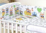 Mama Kiddies Baby Bear 5-dílná dětská ložní souprava s mantinelem 360°, šedě-bílá - vzor sovička
