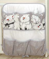 Mama Kiddies Baby Bear kapesní organizér šedý s ledovým medvídkem