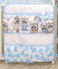 Mama Kiddies Baby Bear vrecko bielo modré so sovičkami