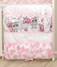 Mama Kiddies Baby Bear vrecko bielo ružové so sovičkami