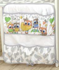 Mama Kiddies Baby Bear vrecko sivo biele a farebnými sovičkami