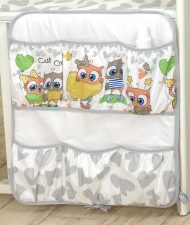 Mama Kiddies Baby Bear kapesní organizér šedo-bílý s barevnými sovička